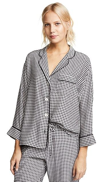 Sleepy Jones Silk Marina Gingham Pajama Shirt