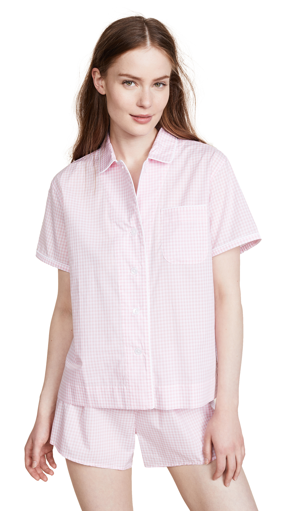 Sleepy Jones Small Gingham Corita Shirt In Pink