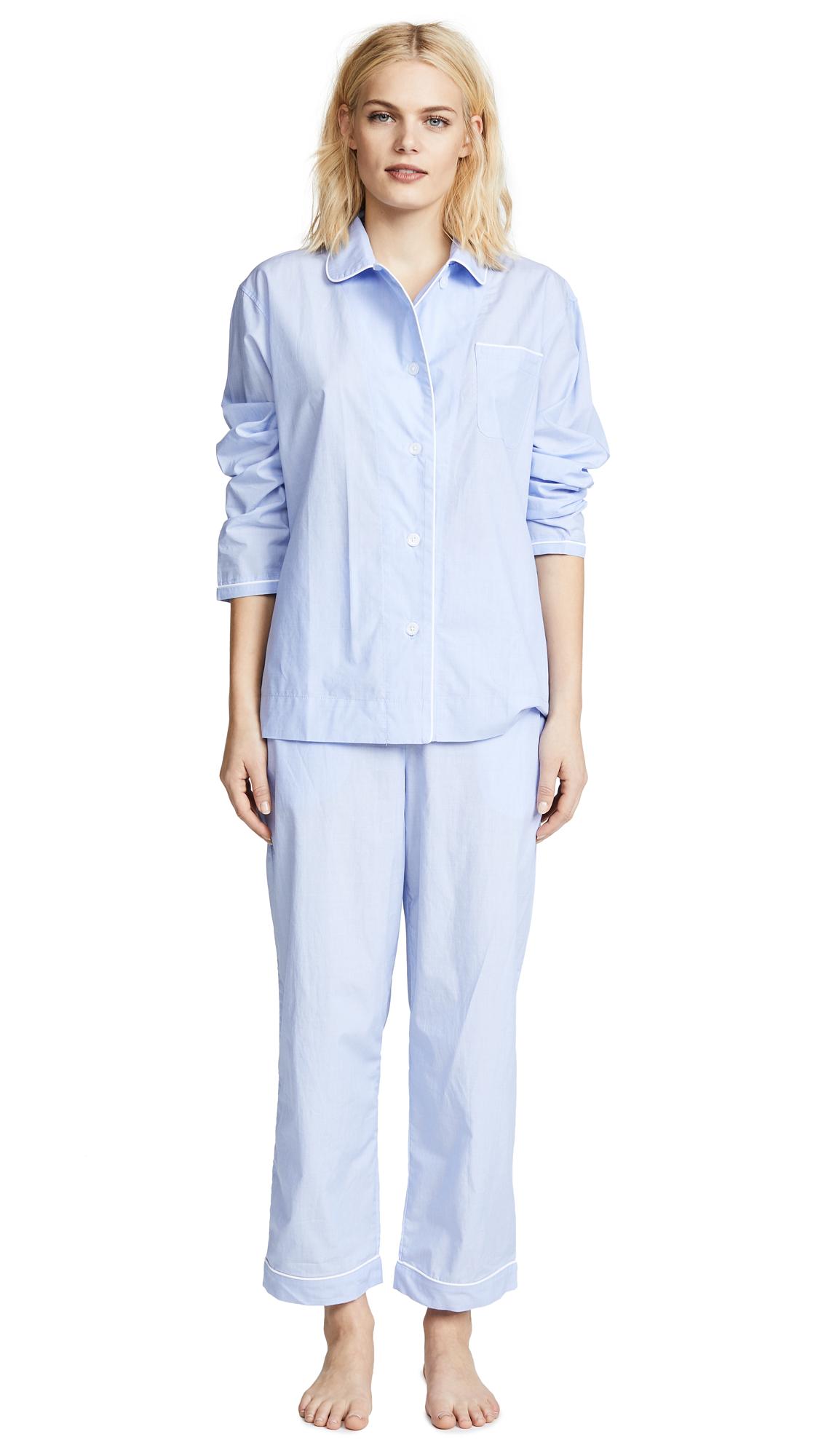 Sleepy Jones End On End Bishop Pajama Set In Blue