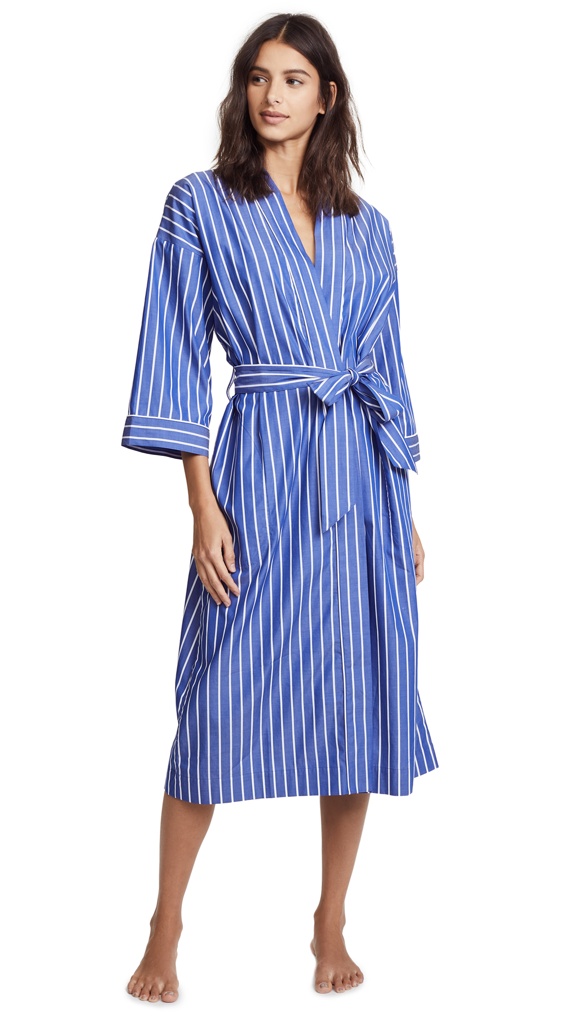 SLEEPY JONES Sadie Striped Cotton Robe, Tie Stripe Blue & White