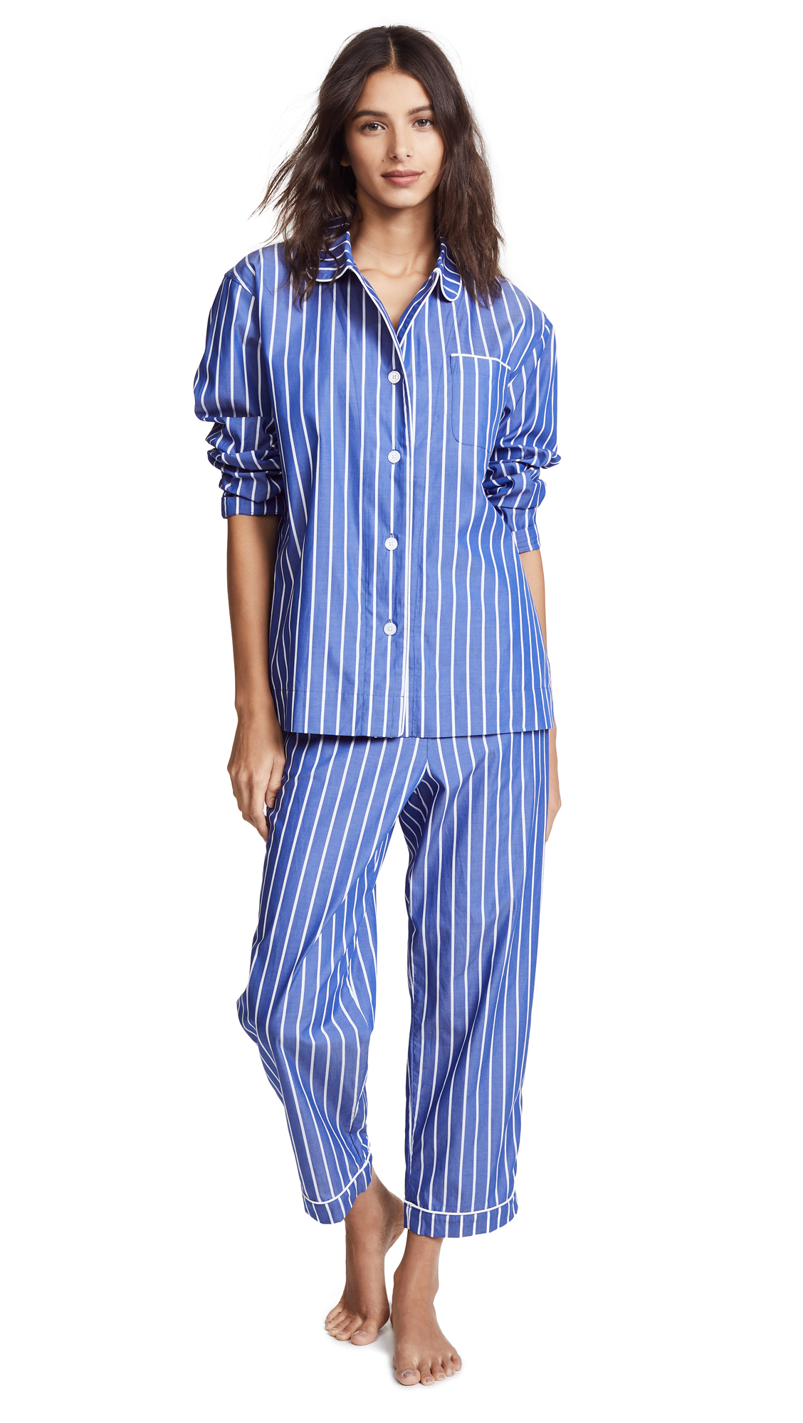 Sleepy Jones Bishop PJ Set In Tie Stripe Blue & White