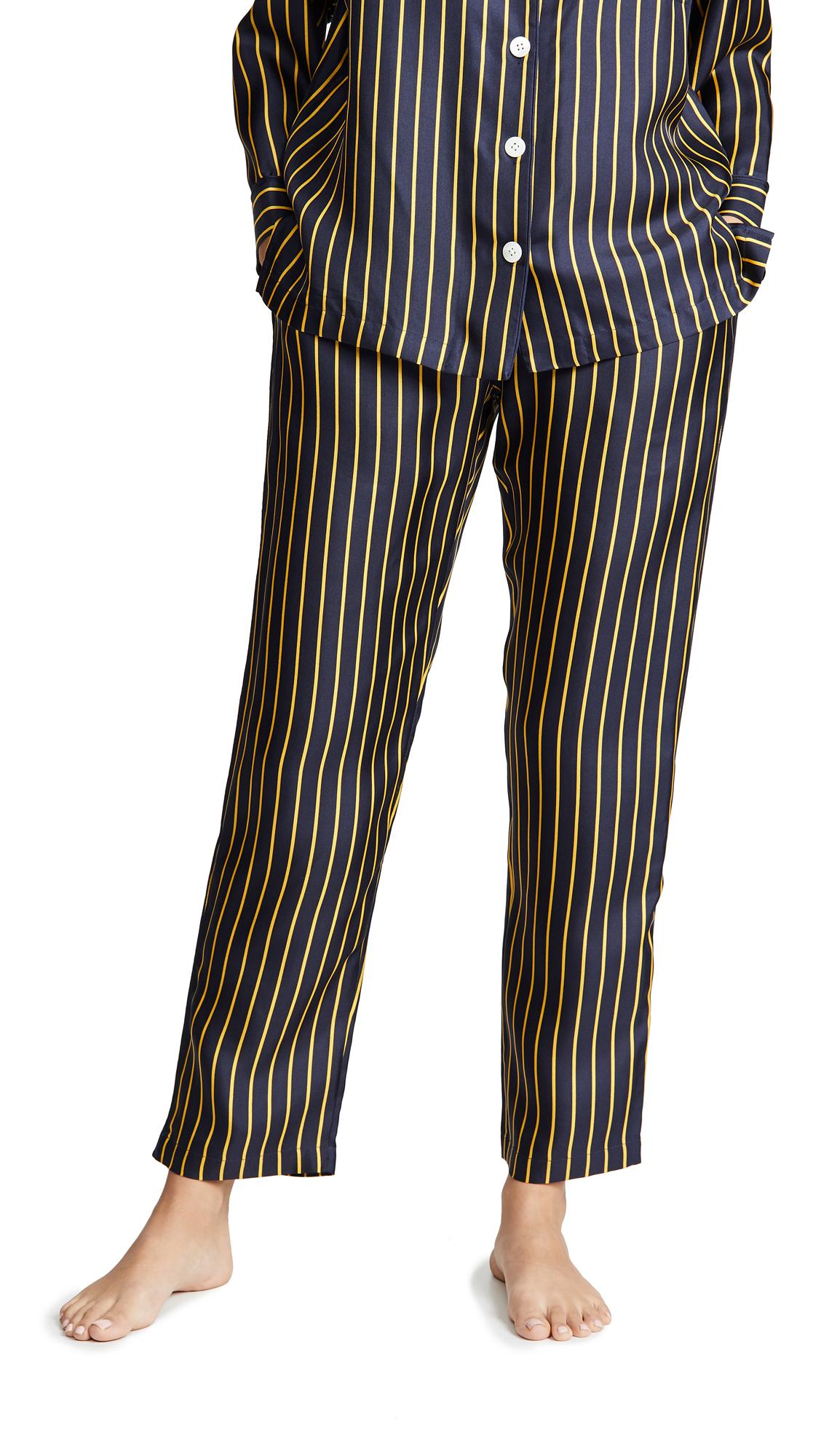 Sleepy Jones Marina Pajama Pants In Silk Tie Stripe Navy & Gold