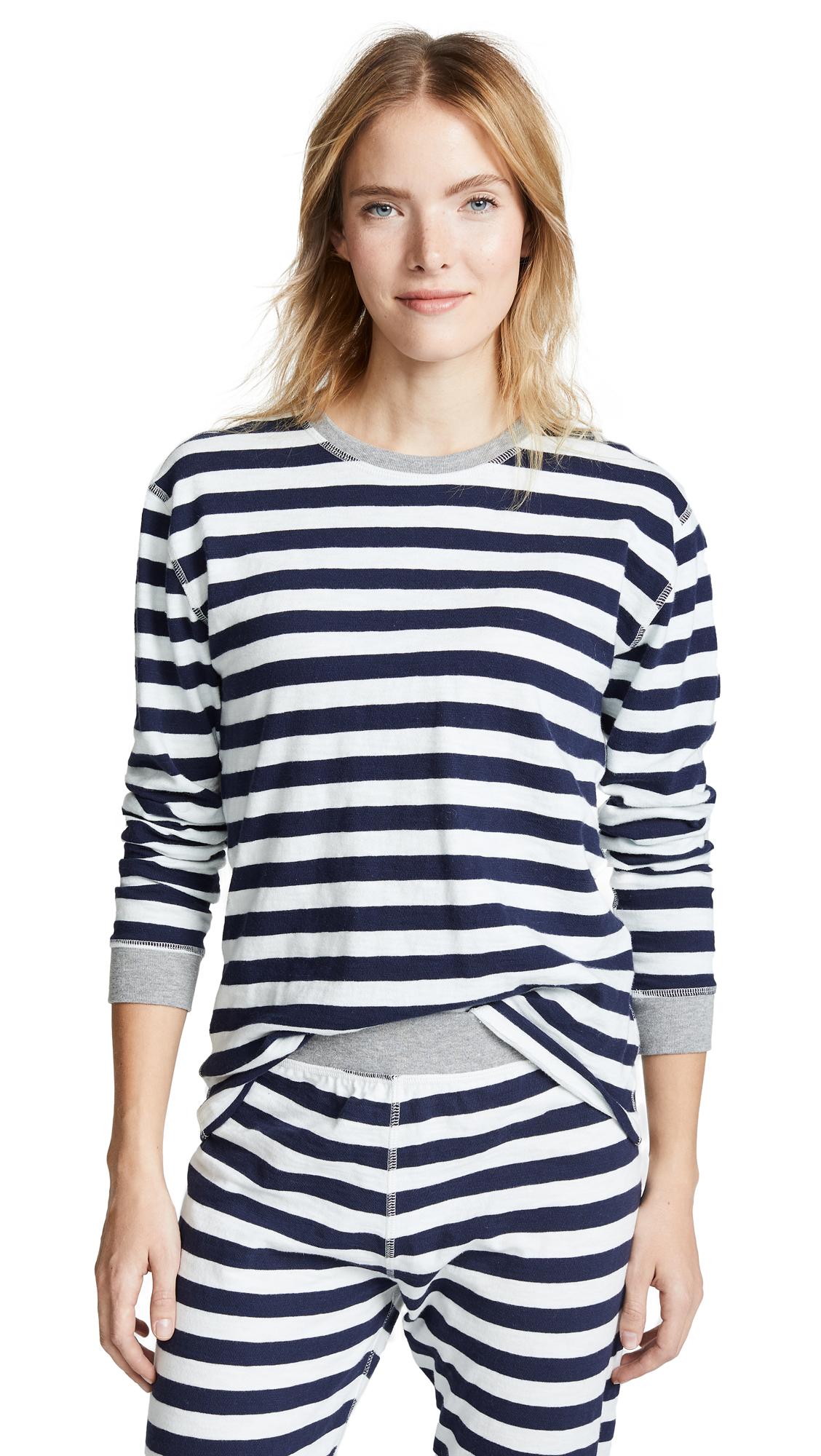 SLEEPY JONES Helen Long Sleeve Shirt in Medium Stripe Navy