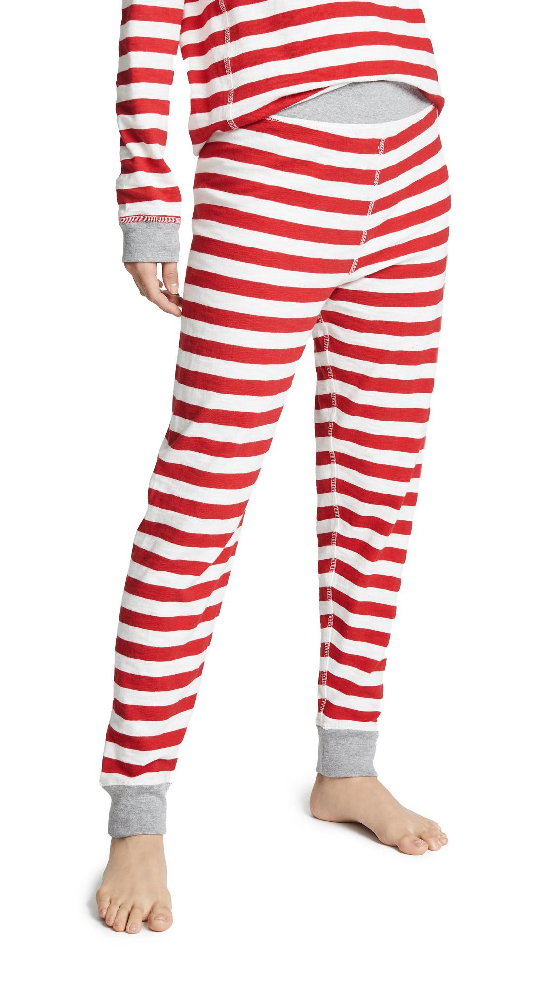 SLEEPY JONES Helen Cotton Stripe Leggings in Medium Stripe Red