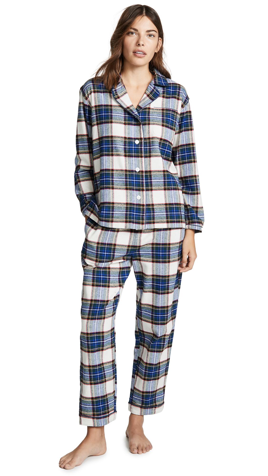 SLEEPY JONES Bishop Pajama Set in Cream