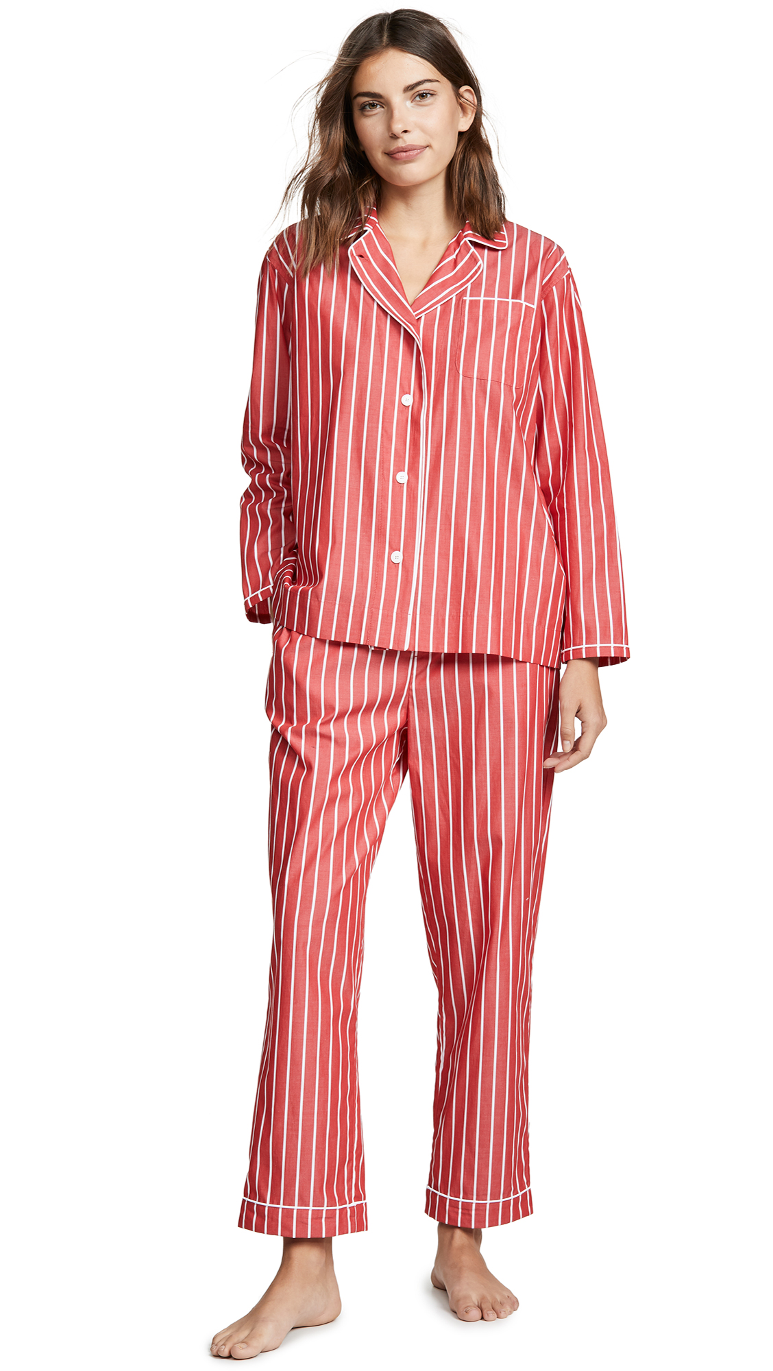 SLEEPY JONES Bishop Pajama Set in Red/White