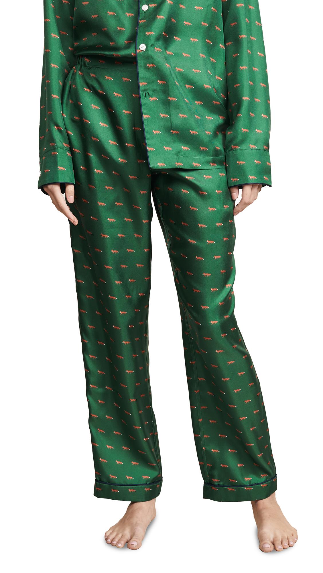 SLEEPY JONES Silk Marcel Pajama Pants in Green