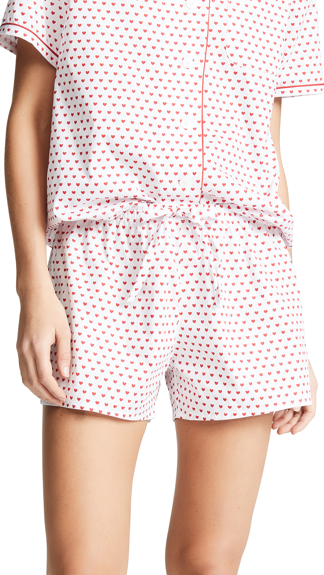 SLEEPY JONES Paloma Pajama Shorts in White/Red