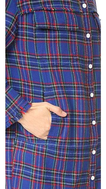 SJYP Plaid Check Long Shirt
