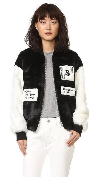 SJYP Faux Fur Stadium Bomber Jacket - Black