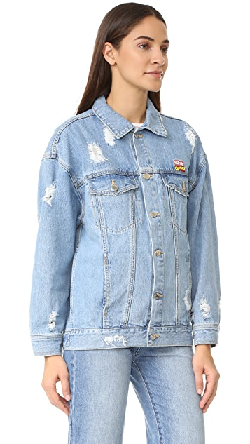 SJYP Marvel Patch Denim Jacket