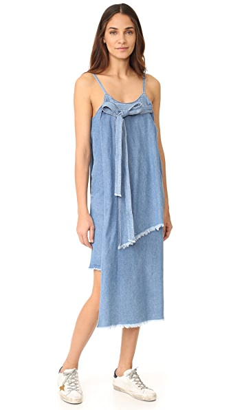 SJYP Unbalanced Denim Dress - Light Blue