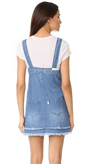 SJYP Button Front Strap Denim Dress