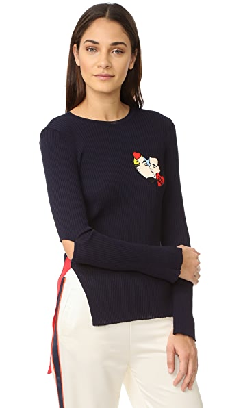 SJYP Marvel Elbow Cut Knit Top