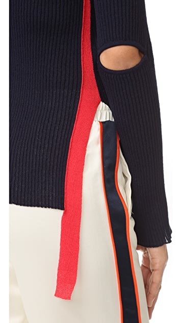 SJYP Marvel Elbow Cut Knit Top