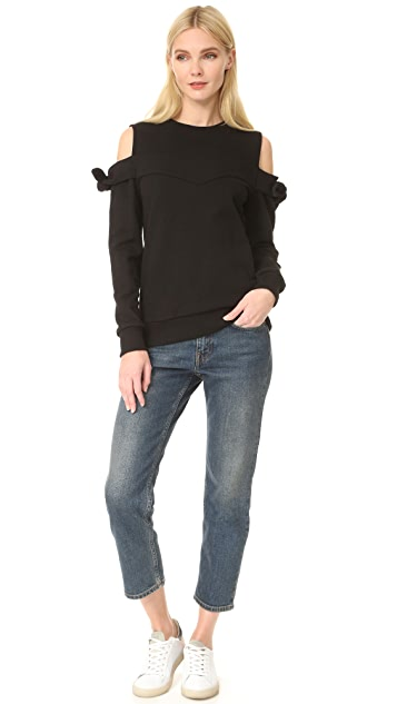 SJYP Off Shoulder Ribbon Sweatshirt