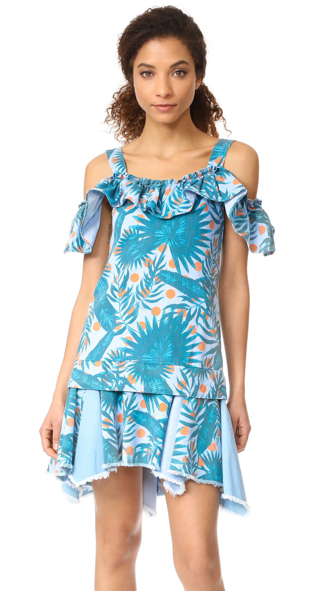 SJYP Hawaiian Print Denim Dress - Denim Blue