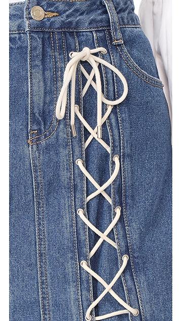 SJYP Eyelet String Miniskirt