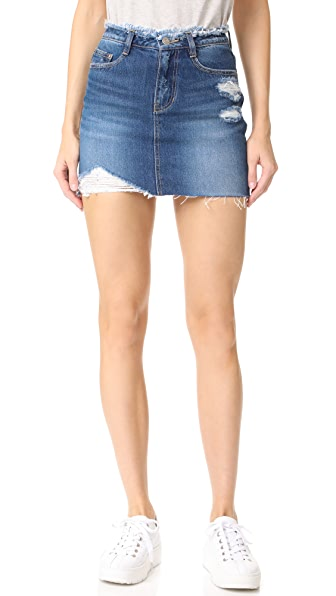 SJYP Destroyed Denim Miniskirt - Denim Blue