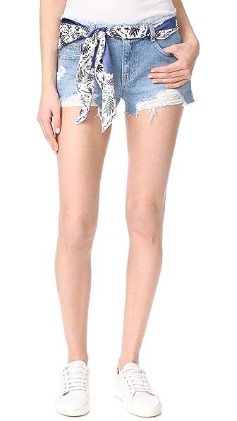 SJYP Destroyed Belted Shorts In Light Blue