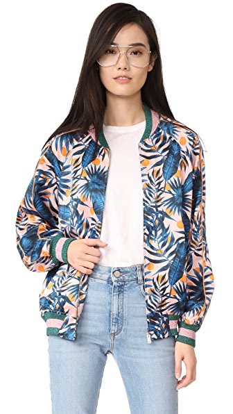 SJYP Hawaiian Print Bomber Jacket - Pink
