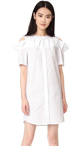 SJYP Frill Cut Button Dress In White