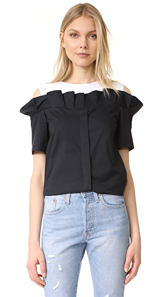 SJYP Frill Cut Button Top In Black