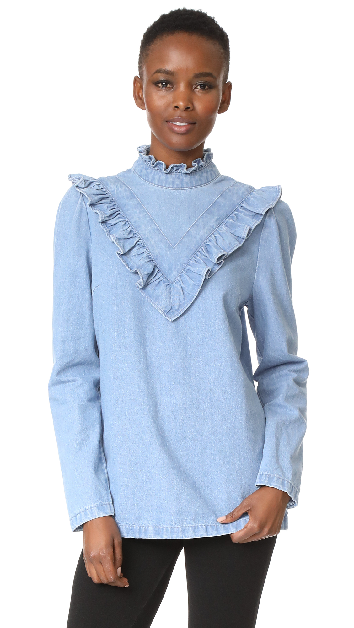 SJYP Ruffle Detail Denim Top - Light Blue