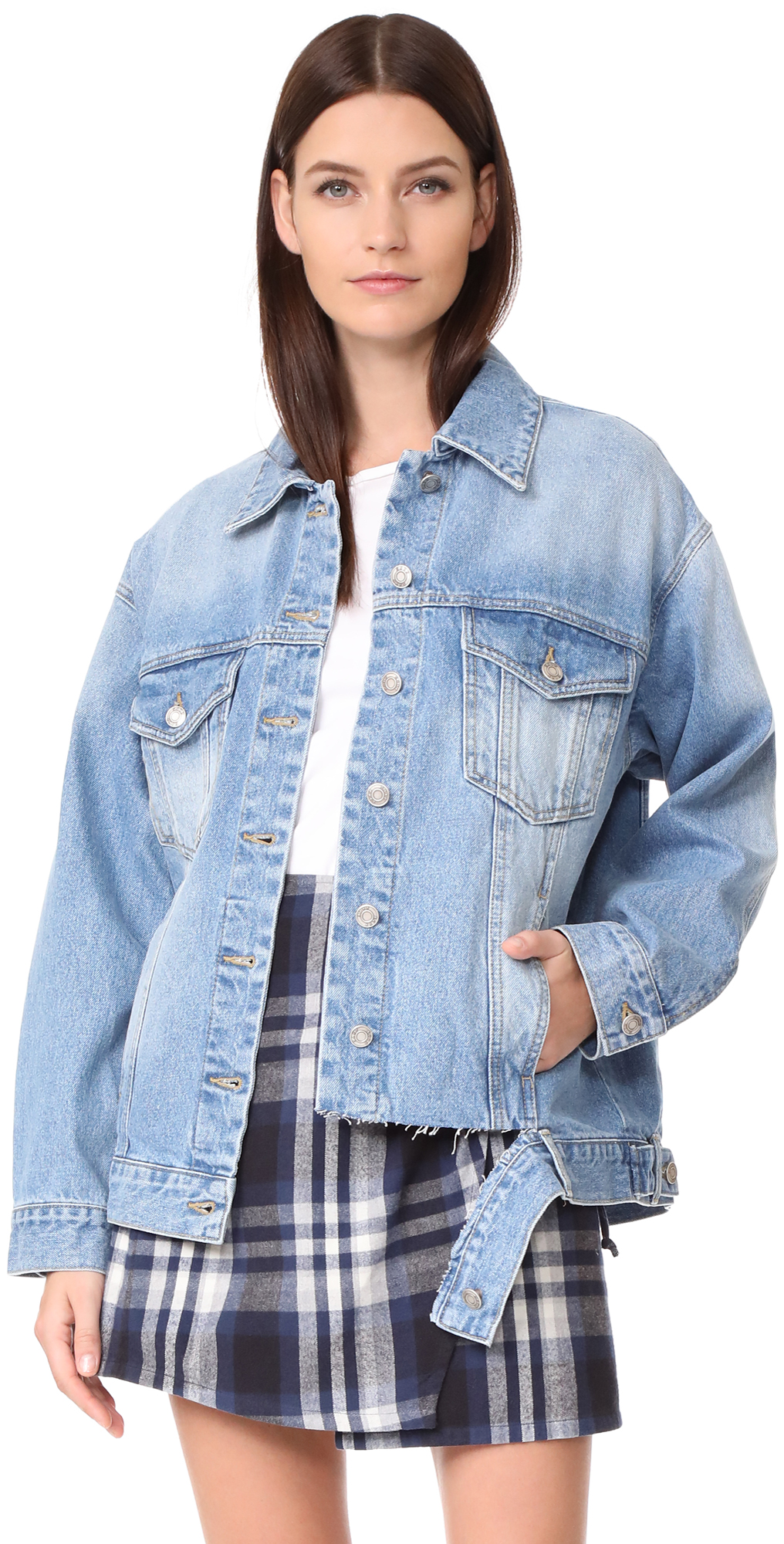 Bottom Cut Denim Jacket SJYP