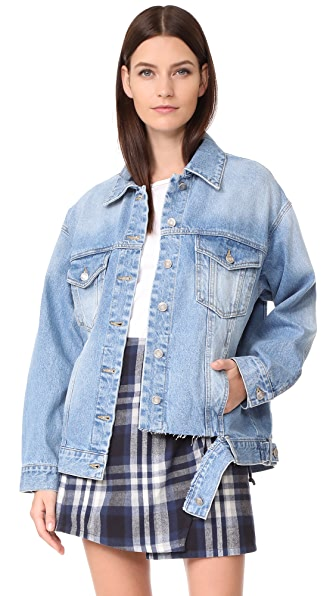 SJYP Bottom Cut Denim Jacket In Denim Blue