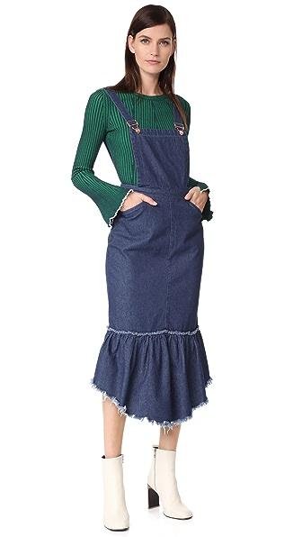 SJYP Cut Off Denim Overall Dress In Dark Blue