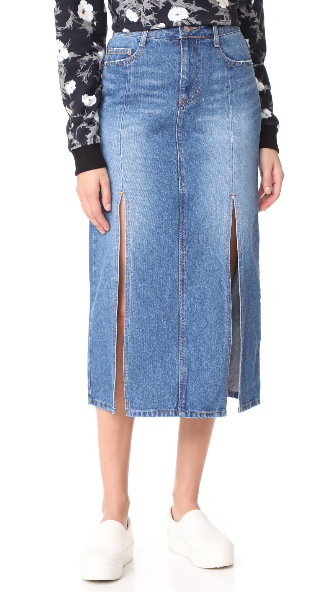 SJYP Front Slits Denim Skirt - Denim Blue