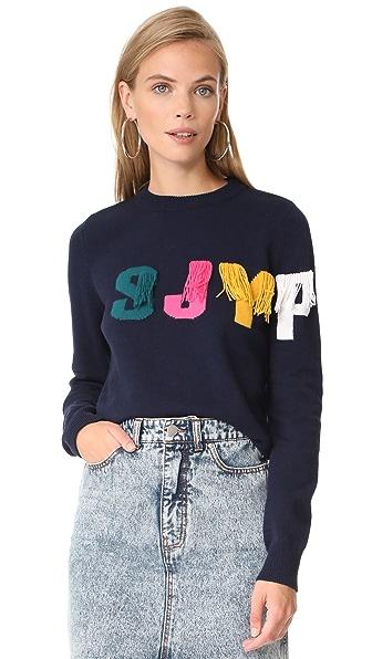 SJYP SJYP Logo Fringe Pullover - Navy
