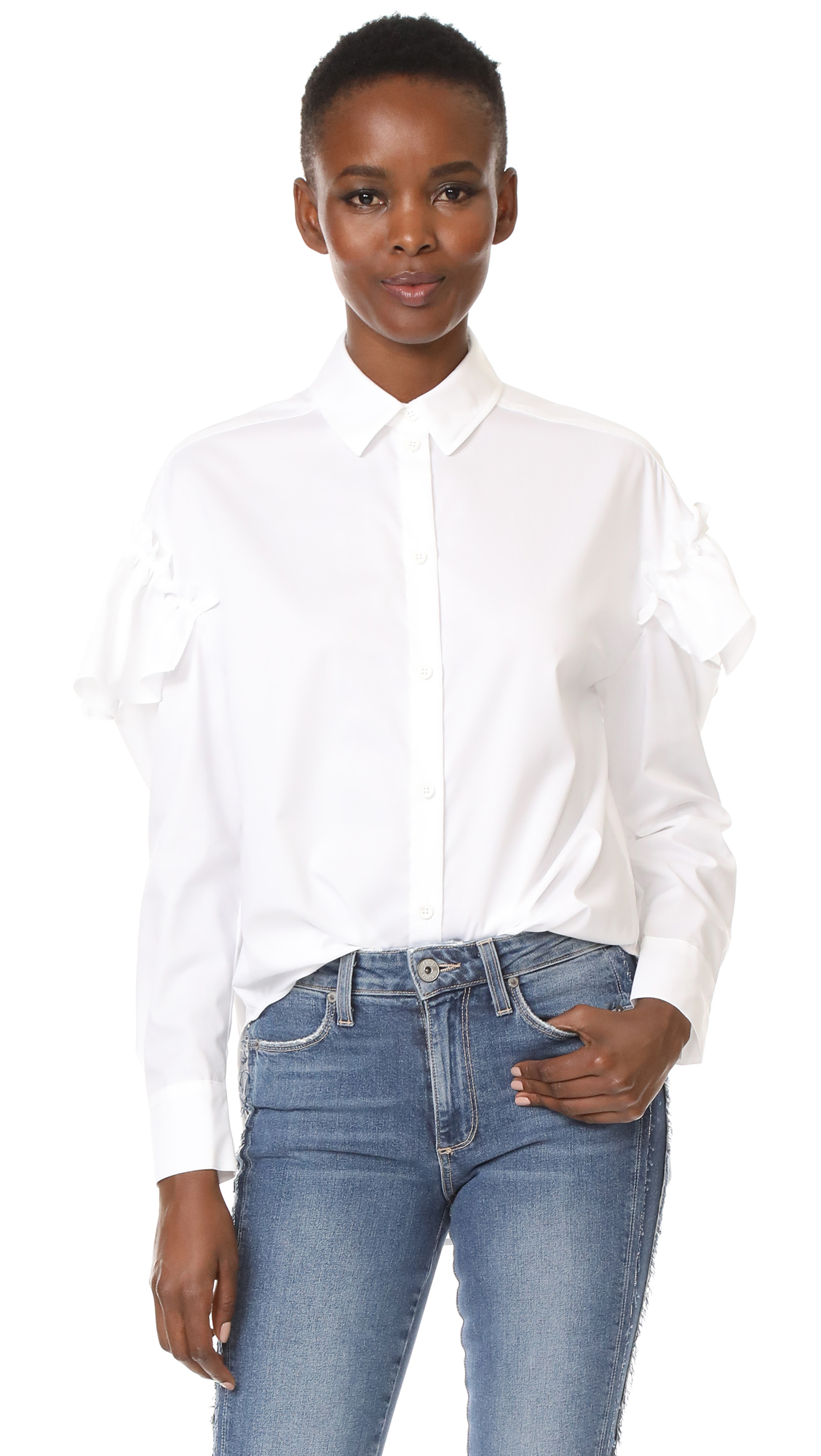 SJYP Frill Sleeve Blouse - White