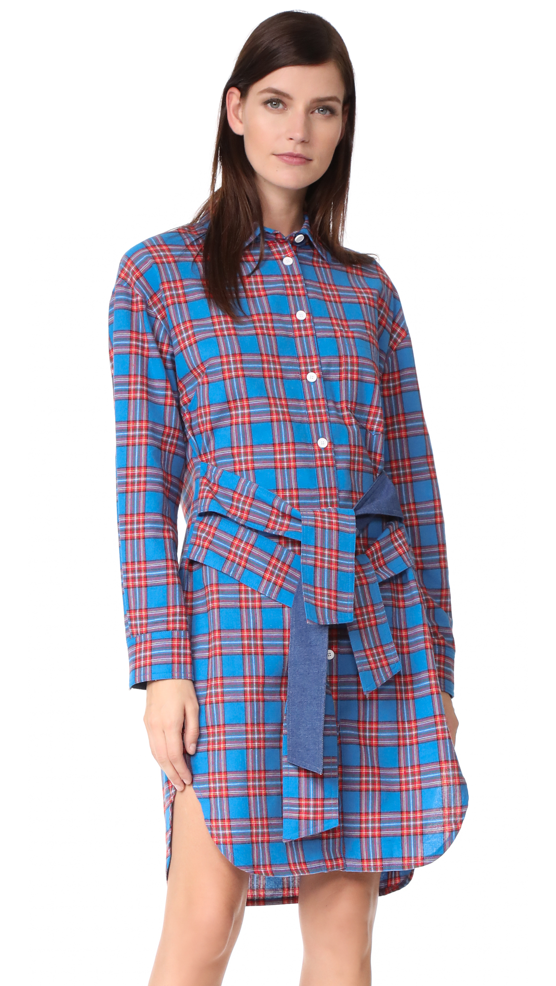 SJYP Tie Waist Check Dress - Blue