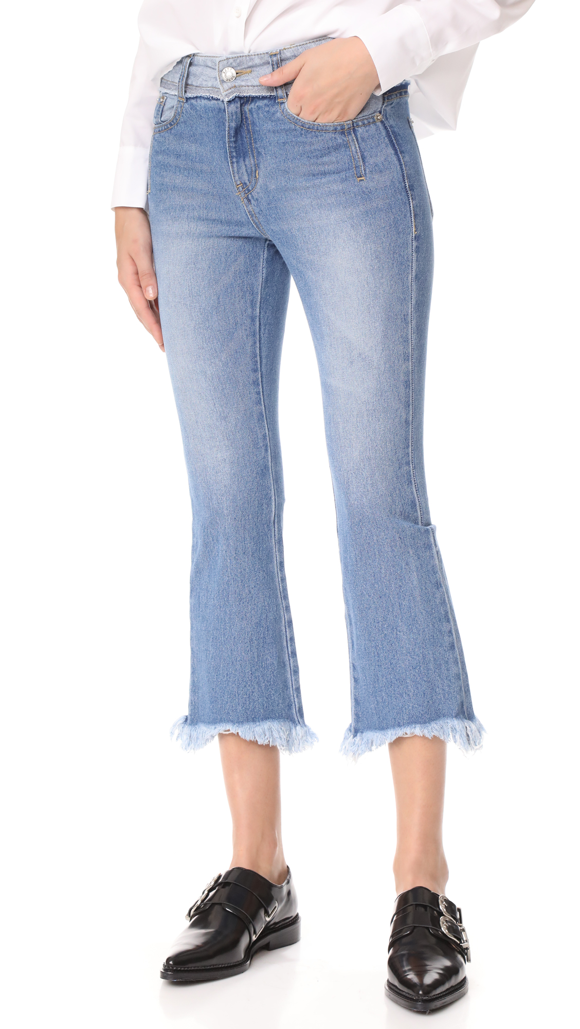 SJYP Cutoff Jeans - Denim Blue