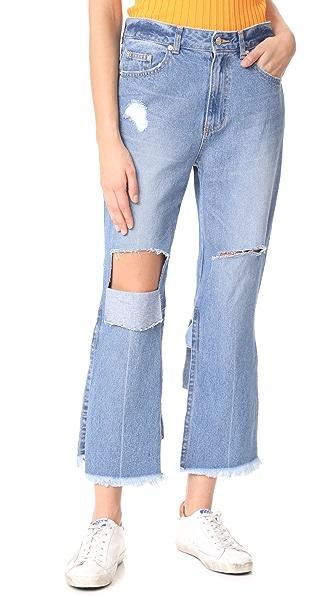 SJYP Back Strap Detail Jeans - Denim Blue