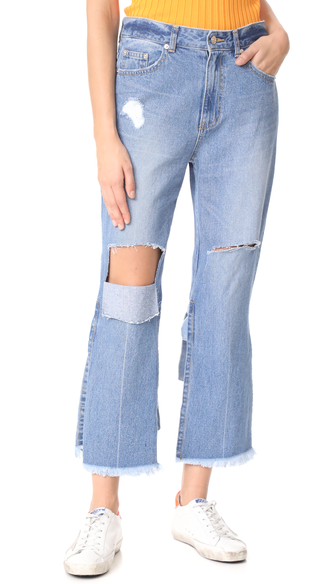 SJYP Back Strap Detail Jeans - Denim Blue