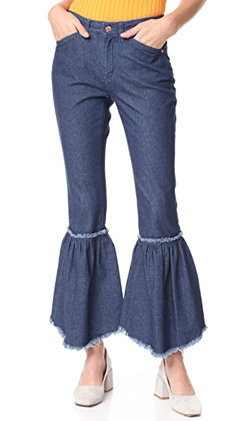 SJYP Bottom Bias Cutoff Jeans