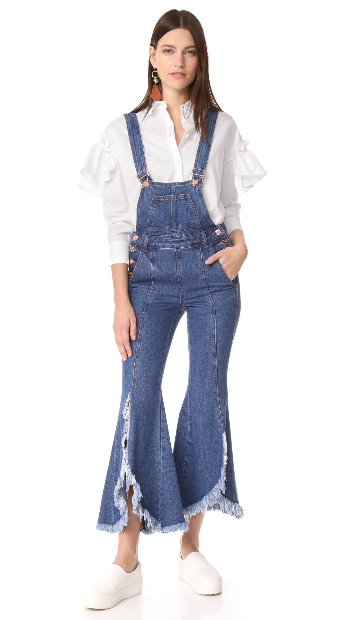 SJYP Cutoff Denim Overalls - Denim Blue