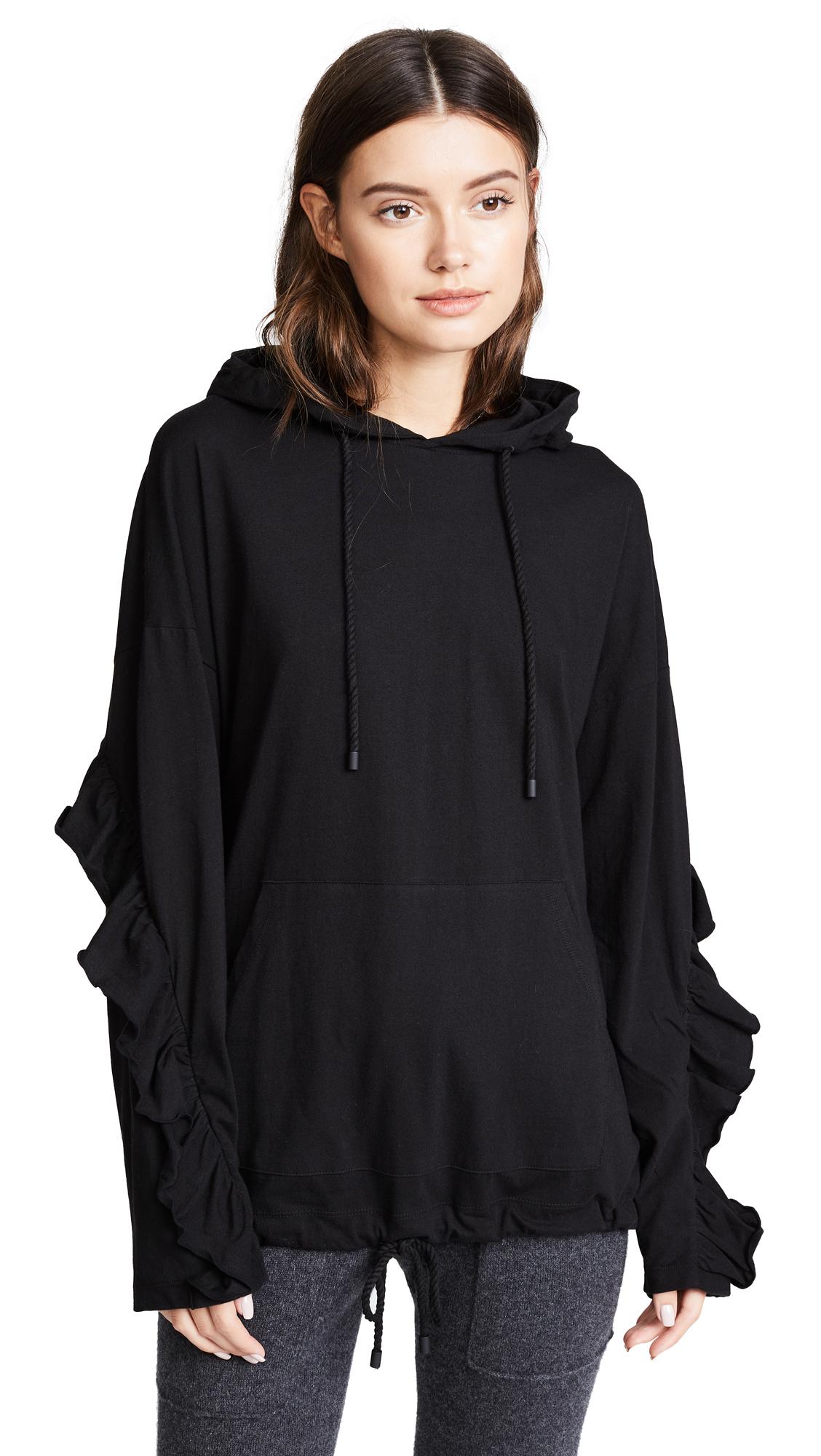 SJYP Frill Sleeves Hoodie - Black
