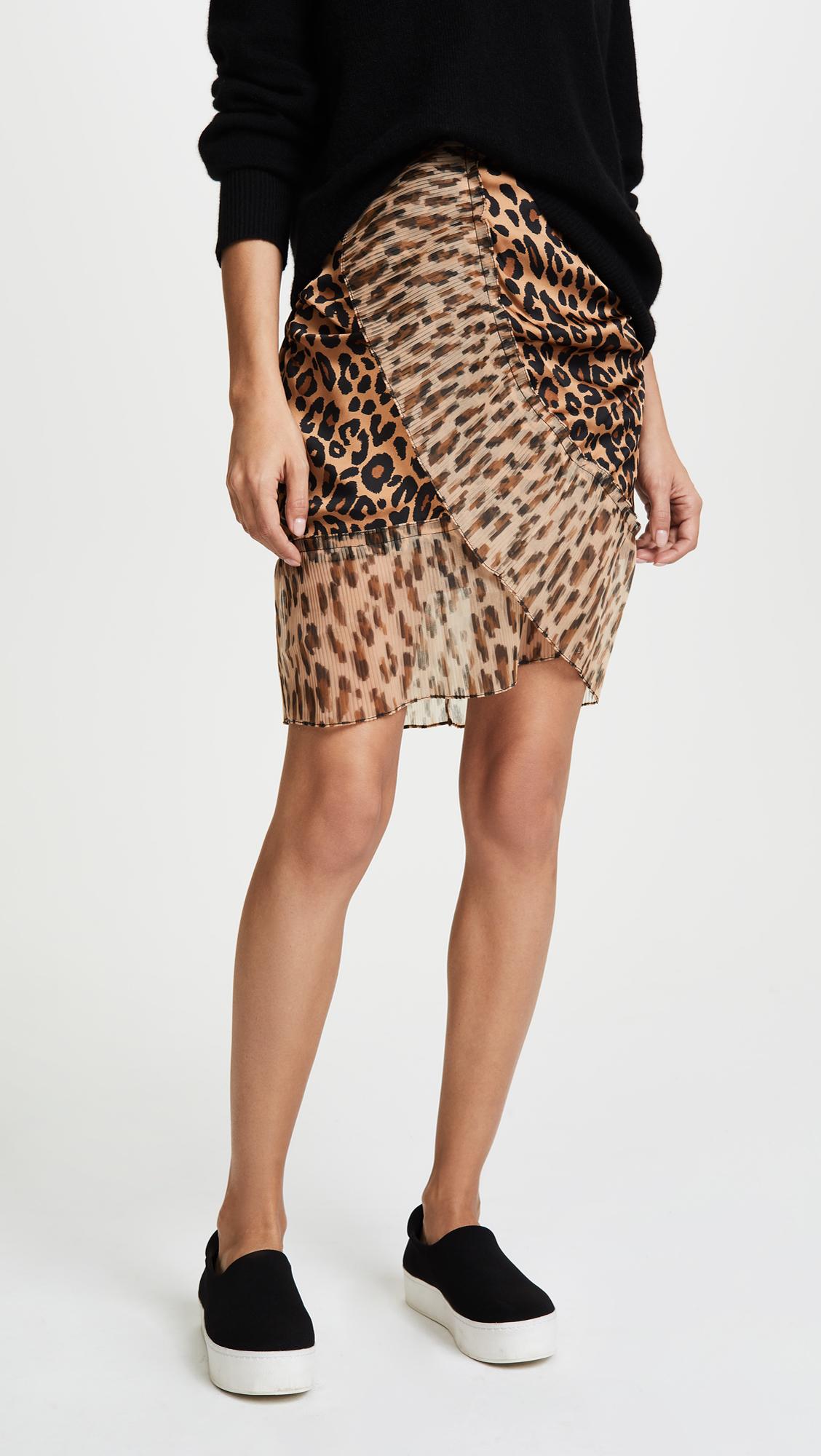 209dae619d SJYP Leopard Pleats Detail Mini Skirt | SHOPBOP