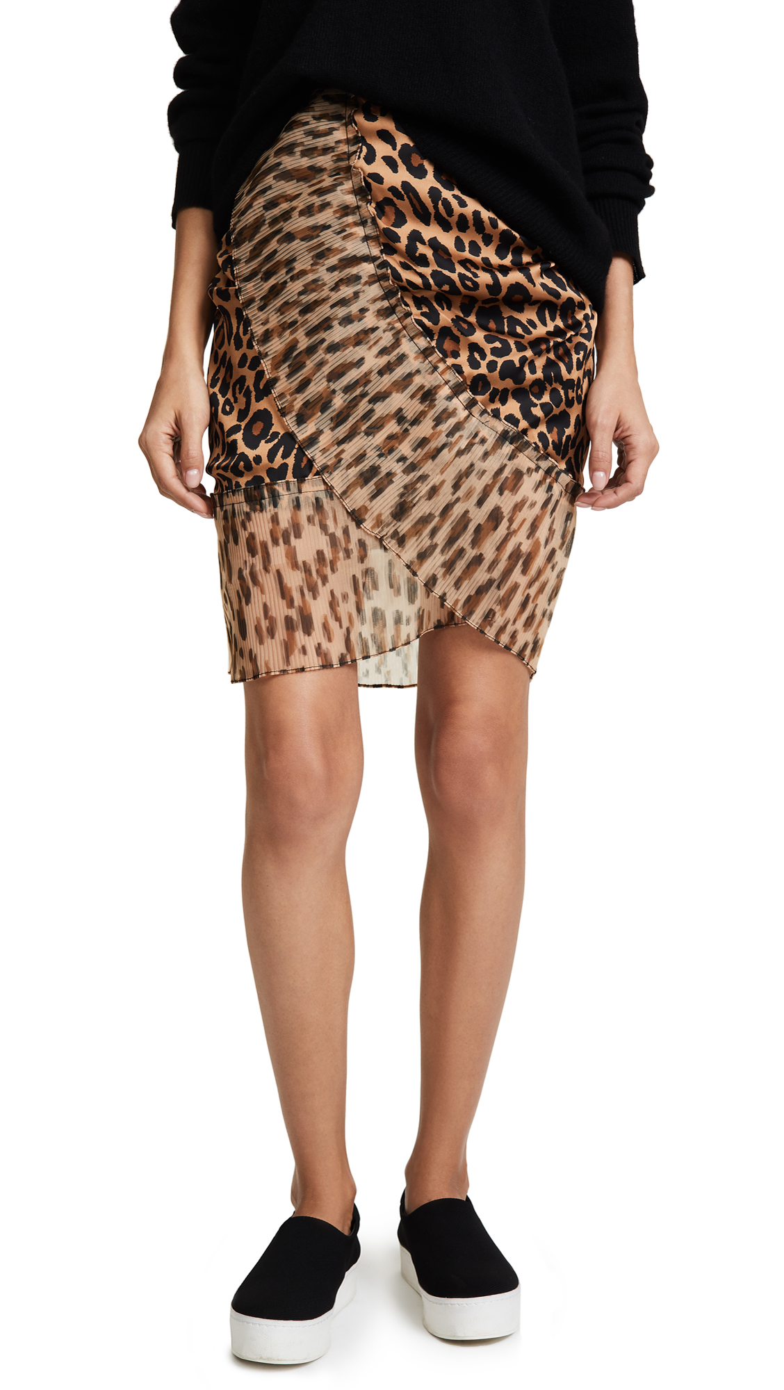 SJYP Leopard Pleats Detail Mini Skirt - Dark Beige