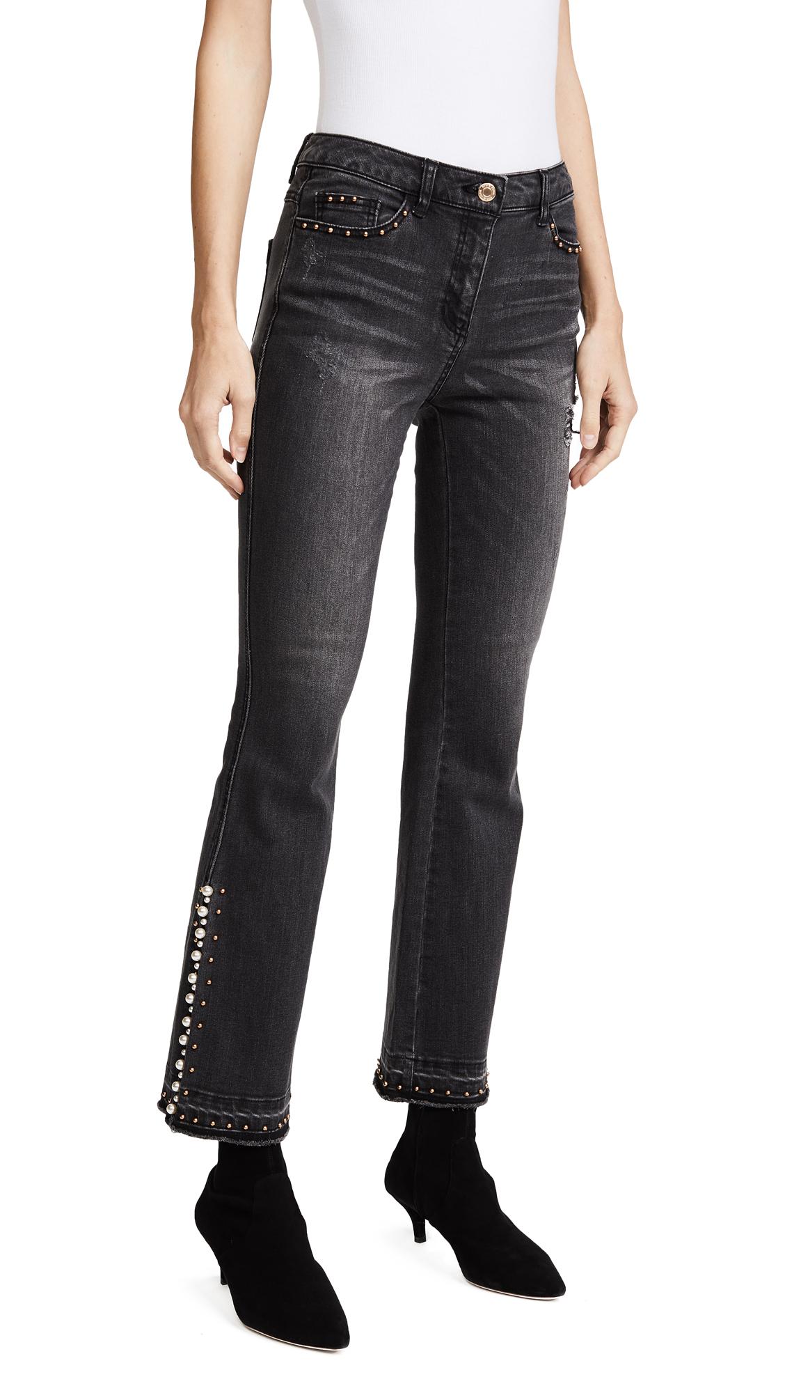 SJYP Detailed Flare Jeans - Black