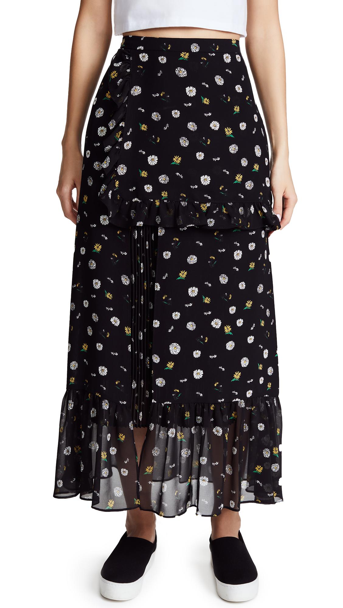SJYP Flower Printed Long Skirt - Black