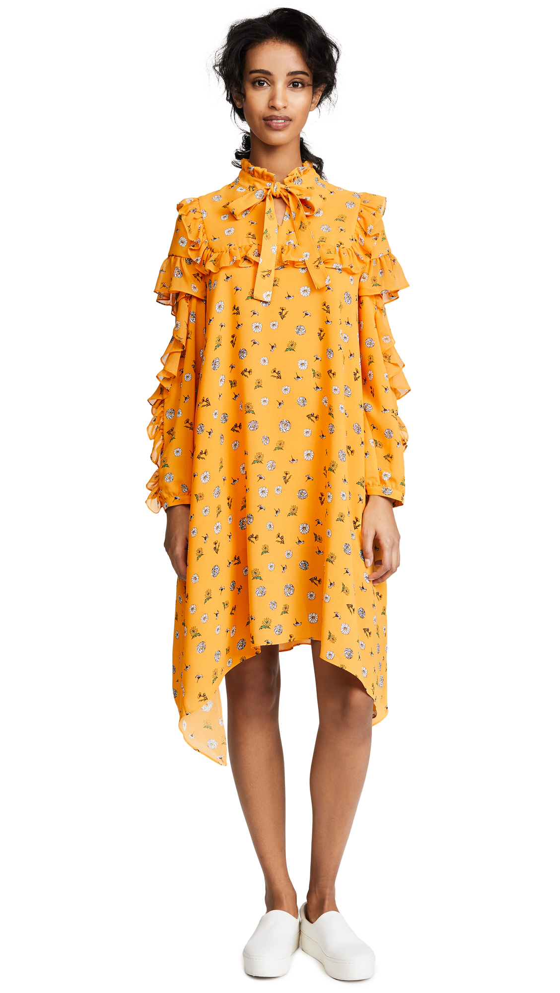 SJYP Flower Printed Frill Dress - Yellow