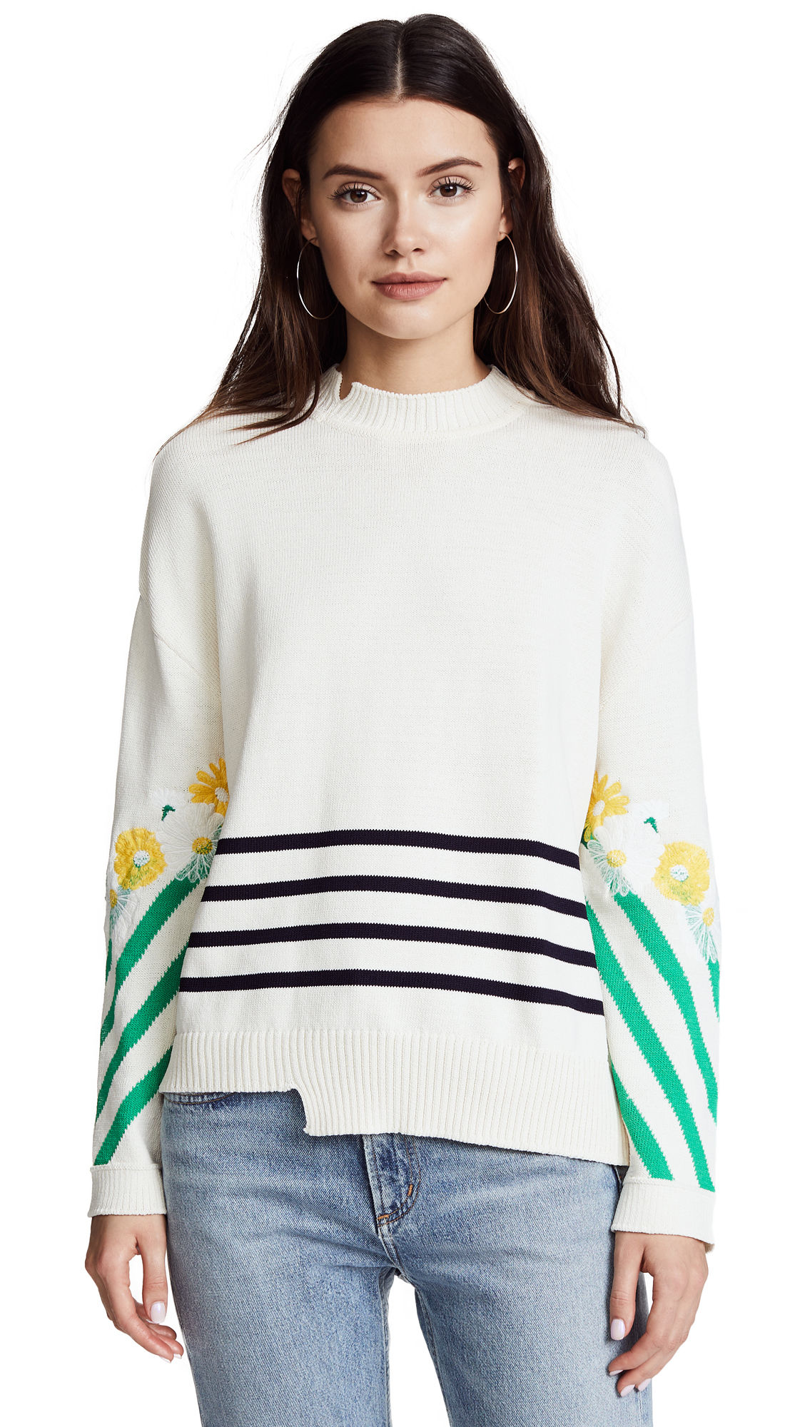 SJYP Flower Embroidery Knit Top - Ivory