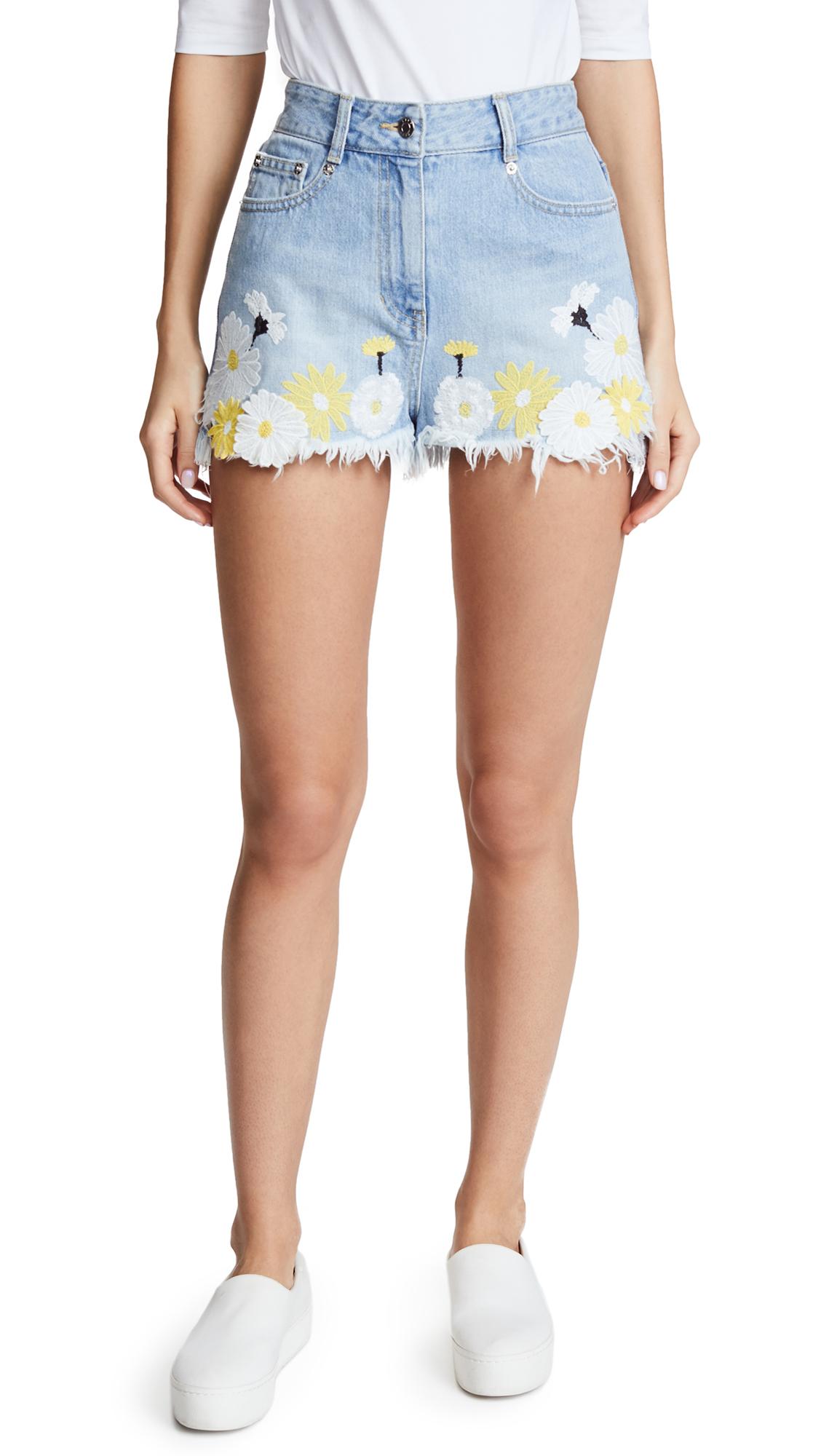 SJYP Flower Embroidery Denim Shorts - Light Blue