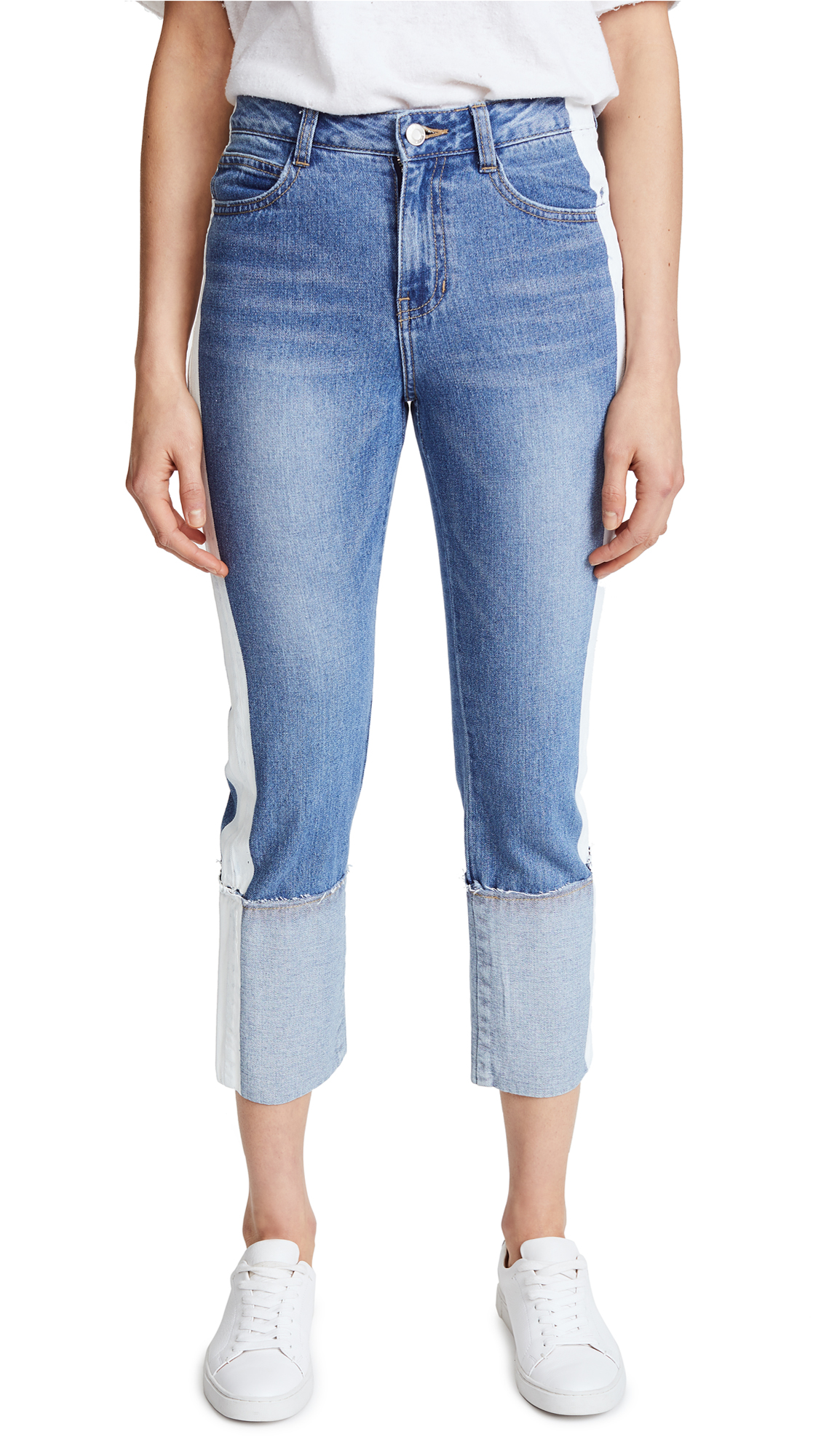SJYP Painted Roll Up Jeans - Denim Blue