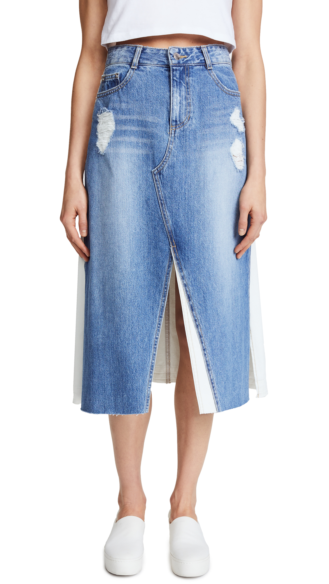 SJYP Front Long Denim Skirt - Denim Blue
